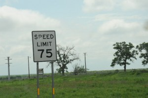 There is a 75 MPH speed limit between San Antonio and Corpus Christi.